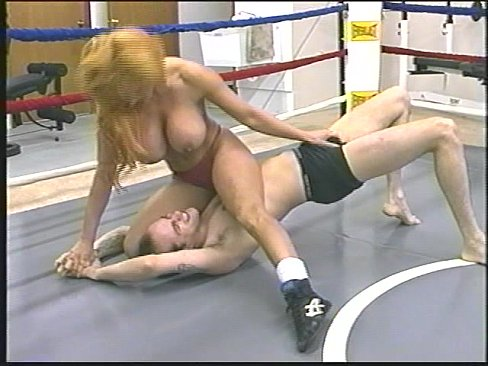 Busty topless wrestling